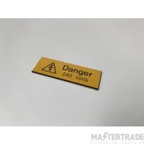 Ind Signs IS0405EN Danger 240V Label Pk5