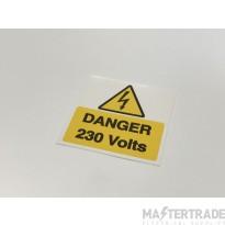 Ind Signs IS1910SA Danger 230V Lbl Pk10