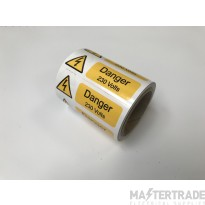 Ind Signs IS20100R Danger 230V Lbl Pk250