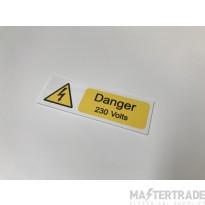 Ind Signs IS2110SA Danger 230V Lbl Pk10