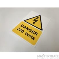 Ind Signs IS4901RP Danger 230V Label Pk1