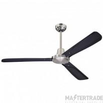 """Urban Gale Ceiling Sweep Fan 132cm/52"""" Brushed Nickel-Black"""