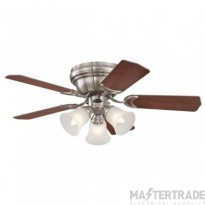 "Contempra Trio Ceiling Sweep Fan 90cm/36"" Brushed Nickell-Rosewood/Beech"