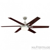 "Cayuga Ceiling Sweep Fan 152cm/60"" Brushed Nickel-Rosewood/Light Maple"