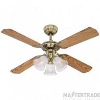 "Princess Trio Ceiling Sweep Fan 105cm/42"" Ancient Brass-Oak/Mahogany"