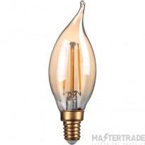 Kosnic 2w  LED Filament Candle  Bent- tip  E14  Gold finish  2700K