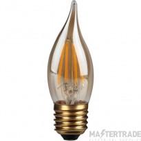 Kosnic 4w  LED Filament Candle  Bent- tip  E27  Gold finish  2700K