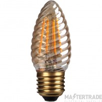 Kosnic 4w  LED Filament Candle  Twist E27  Gold finish  2700K
