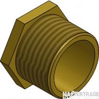 """MetPro MBBS5 2"""" Male Bush Short - Brass"""