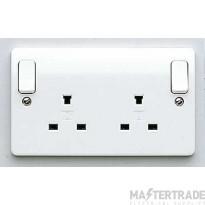 "MK Logic Plusâ""¢ 2-Gang 2-Pole Non-Standard Socket 13A 86 x 146mm White K1246WHI"
