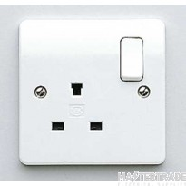 "MK Logic Plusâ""¢ 1-Gang 2-Pole Non-Standard Socket 13A 86 x 86mm White K1257WHI"