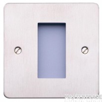 MK Edge 1-Gang 1-Module Decorative Euro Front Plate 25 x 50mm Brushed Stainless Steel K14181BSS