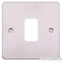 MK Grid Plus 1-Module Flush Frontplate Brushed Stainless Steel K14331BSS