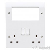 MK Logic Plus Combination Plate with 4 x Euro Aperture 2-Gang 2-Pole 13A White K2741WHI