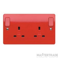 """MK Logic Plusâ""""¢ 2-Gang 2-Pole Dual Earth Switched Socket 13A Red K2746D1RED"""