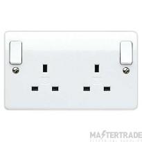 "MK Logic Plusâ""¢ 2-Gang 2-Pole Surface Mount Socket Switch 13A 146 x 86 x 30mm White K2746WHI"