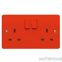 """MK Logic Plusâ""""¢ 2-Gang 2-Pole Switched Socket 13A Red K2747D1RED"""