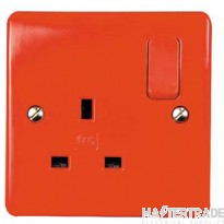 """MK Logic Plusâ""""¢ 1-Gang 2-Pole Switched Socket 13A Red K2757D1RED"""