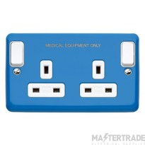 MK Albany Plus Switched Socket Outlet 2-Gang 2-Pole 13A Blue K2947CEBLU