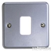 "MK Metaclad Plusâ""¢ 1-Gang Aluminium Blank Plate 86 x 86mm Grey K3491ALM"