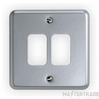 "MK Metaclad Plusâ""¢ 2-Gang Aluminium Blank Plate 86 x 86mm White K3492ALM"