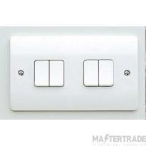 MK Logic Plus 4-Gang 1-Pole Plate Switch 2-Way 10A 250V 86 x 146mm White K4874WHI