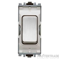 MK Aspect Switch Module 2-Pole 1-Way 20A White Insert Brushed Stainless Steel K4896BSSW