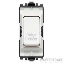 MK Rockergrid 2-Pole 1-Way Switch Fridge Freezer 1 Module 20A White K4896FFWHI