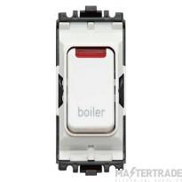 MK Grid Plus Switch Module with Neon 2-Pole 1-Way 20A Boiler Marking White K4896NBRWHI
