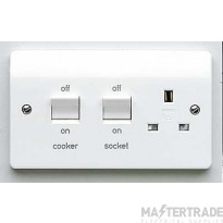 MK Logic Plus 2-Gang Cooker Control Unit 45A 250VAC IP2XD 86 x 146 x 13mm White K5060WHI