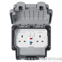 """MK Masterseal Plusâ""""¢ 2-Gang 1-Pole Active Control Circuit RCD Protected Socket 13A Grey K56231GRY"""