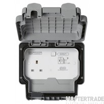 """MK Masterseal Plusâ""""¢ 1-Gang 2-Pole Active Control Circuit RCD Protected Socket 13A Grey K56301GRY"""