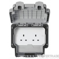 """MK Masterseal Plusâ""""¢ 2-Gang Unswitched Socket 13A Grey K56481GRY"""
