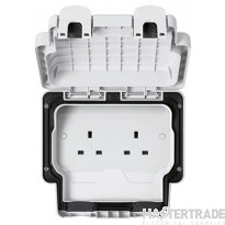 MK Masterseal Plus Unswitched Socket Outlet 2-Gang 13A White K56481WHI
