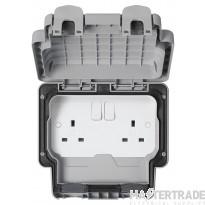 """MK Masterseal Plusâ""""¢ 2-Gang 2-Pole Socket Switch 250V 13A 157 x 110 x 89mm Grey K56482GRY"""