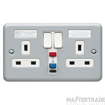 MK Metalclad Plus 1-Gang Passive Circuit RCD Protected Socket 13A 30mA Aluminium K6233ALM