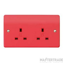 MK Logic Plus Unswitched Socket Outlet with Dual Earth Terminal 2-Gang 13A Red K781RED