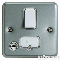 MK Metaclad Plus 1-Gang 2-Pole Switch with Flex Outlet 13A Grey K932ALM