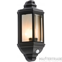 Knightsbridge IP33 Half Wall Lantern E27 & PIR Presence Detector Black 5401A