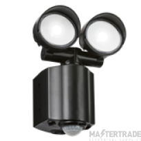 230V IP44 2x8W LED Twin Spot Black Security Light with PIR detector