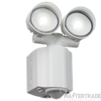 230V IP44 2x8W LED Twin Spot White Security Light with PIR detector