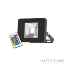 Knightsbridge FLF10RGB Die-Cast 10W LED Floodlight RGB Black IP65 c/w Remote Control