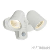Knightsbridge FLTPW White Twin Spot 18W LED Floodlight 3500K 1300lm c/w PIR Sensor