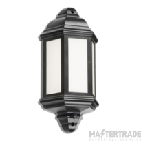 Knightsbridge 8W IP54 LED Half Wall Lantern & PIR Presence Detector 4000K Black LANT4