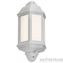 230V IP54 LED Half Wall Lantern with PIR - White