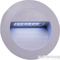 Knightsbridge NH017W IP44 14 x White LED Grey Aluminium Round Recessed Wall Light