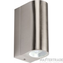 Knightsbridge IP44 6W Exterior Wall Light Up & Down LED 4000K Stainless Steel NH021W