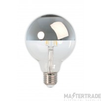 Calex LED Full Glass Filament Top-mirror Globe Lamp 240V 4W 280lm E27 GLB95, Clear 2300K Dimmable, energy label A+
