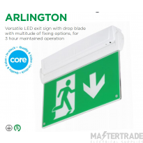 NVC Arlington 2W NAL2/WH/STM3 LED Emergency Surface Exit Blade 3hrM Self Test White