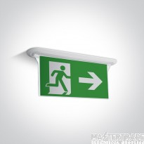 One Light 89406R/W LED Emergency Recessed Exit Blade 3hrM White 1W IP44